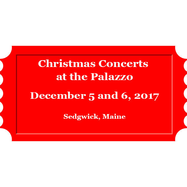 Christmas Concerts at the Palazzo in Sedgwick Maine with Paul Sullivan